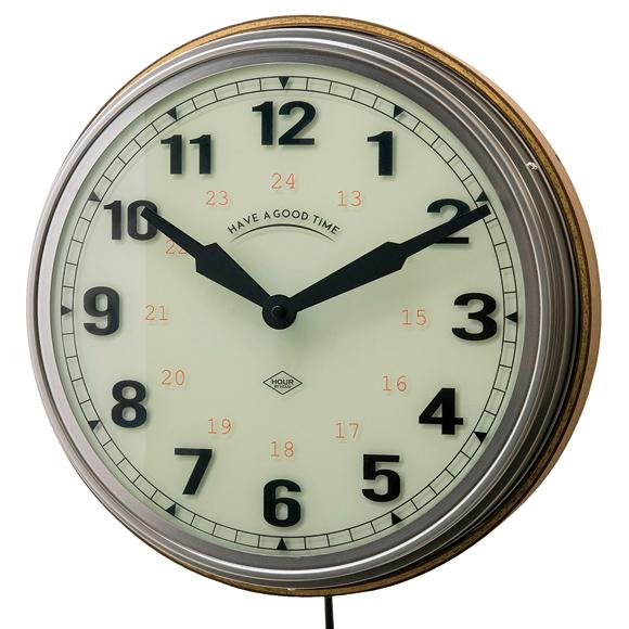 掛け時計 木製 おしゃれ シンプル 文字盤点灯 照明コンセント式 リビング ルヴェロル (IF-CL2560)