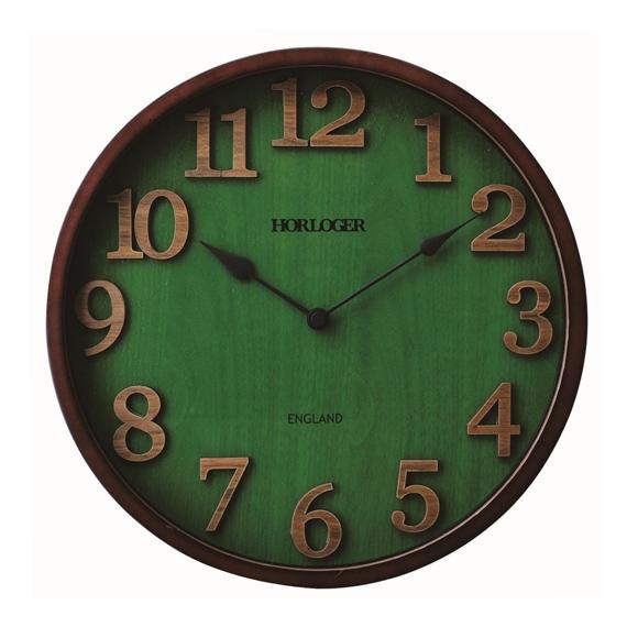 掛け時計 電波時計 木製 英国 グリーン レトロ ステップムーブメント (IF-CL7542)