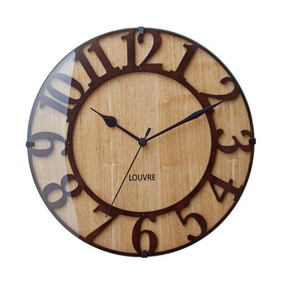掛け時計 電波時計 木製 ナチュラル ステップムーブメント アナログ ミュゼウッド (IF-CL8333)