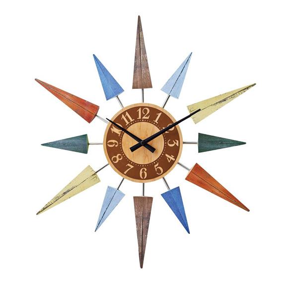 掛け時計 木製 ミッドセンチュリー 50cm 太陽 大型 ポップレスト (IF-CL8408)