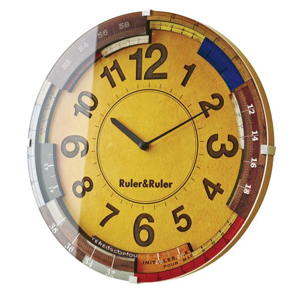 掛け時計 電波時計 ステップムーブメント レトロ ルーラールーラー (IF-CL9584)