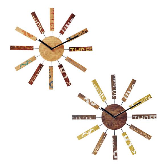 掛け時計 木製 おしゃれ 北欧 ミッドセンチュリー リビング ブリック (IF-CL9587)