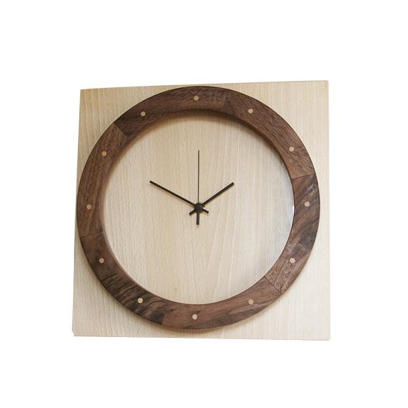 掛け時計 木製 天然木 ナラ リビング ハンドメイド 寄せ木時計 輪と角 (PM-0450000BW)