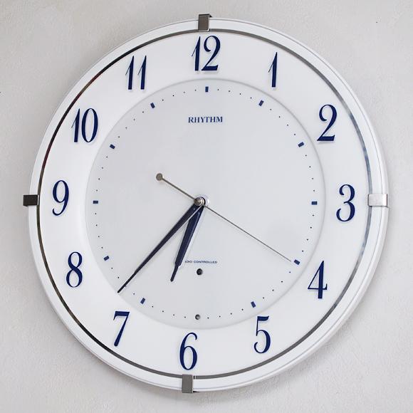 リズム時計 RHYTHM 電波時計 夜間点灯 掛け時計 アナログ リバライトRW497 (8MY497SR03t) 特価40%OFF