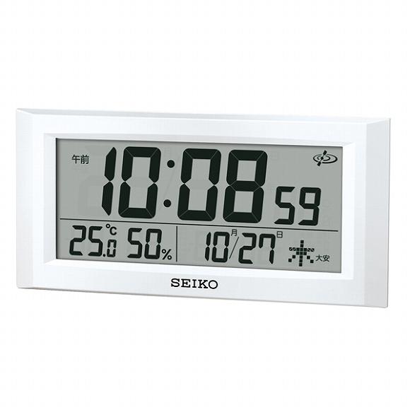 セイコー(SEIKO) 電波時計 GP502W 衛星電波時計 スペースリンク デジタル 掛置兼用 50cm 温度計 湿度計 おしゃれ