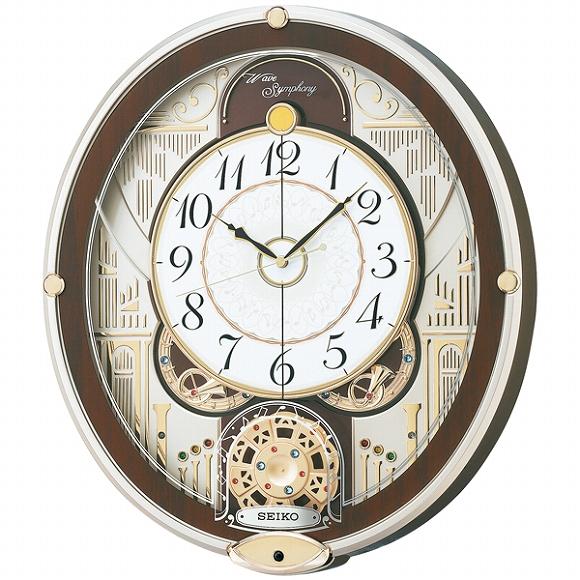 セイコー(SEIKO) からくり時計 電波時計 RE577B アナログ スイープ 掛け時計 壁掛け メロディ おしゃれ