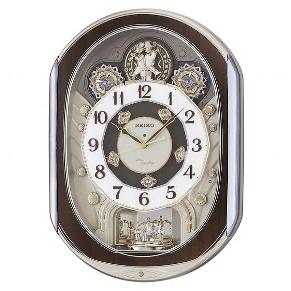 セイコー(SEIKO) からくり時計 電波時計 RE578B アナログ スイープ 掛け時計 壁掛け メロディ おしゃれ