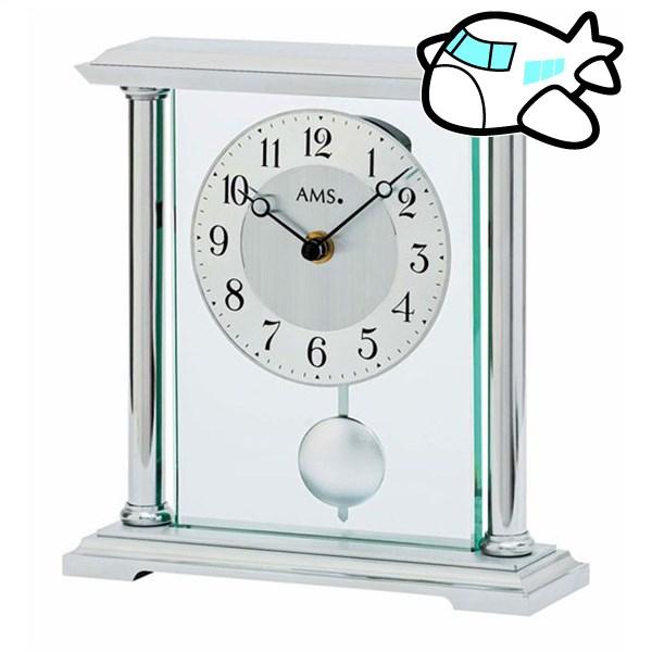 AMS 置き時計 振り子時計 アナログ シルバー ドイツ製 AMS-1142 納期1ヶ月程度 (YM-AMS1142)