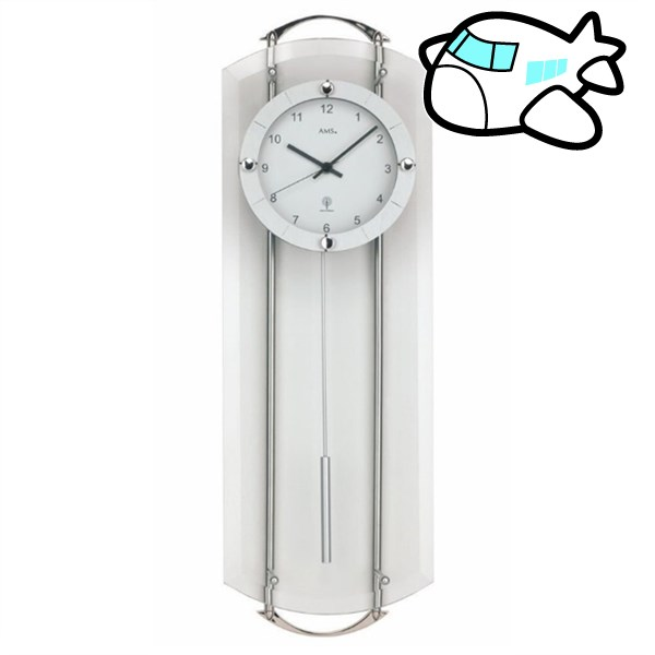 AMS 掛け時計 振り子時計 アナログ シルバー ドイツ製 AMS5263 納期1ヶ月程度 (YM-AMS5263)