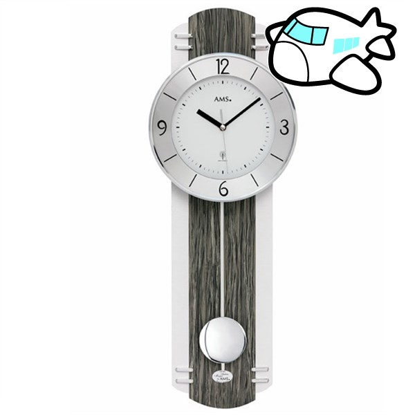 AMS 掛け時計 振り子時計 アナログ シルバー ドイツ製 AMS5294 納期1ヶ月程度 (YM-AMS5294)