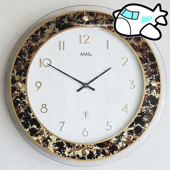 AMS ドイツ製 掛け時計 5853 アナログ ゴールド 【期間限定30%OFF!】 国内在庫 即納 (AMS5853)