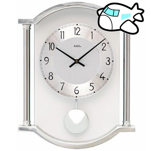 AMS 掛け時計 振り子時計 アナログ シルバー ドイツ製 AMS7448 納期1ヶ月程度 (YM-AMS7448)