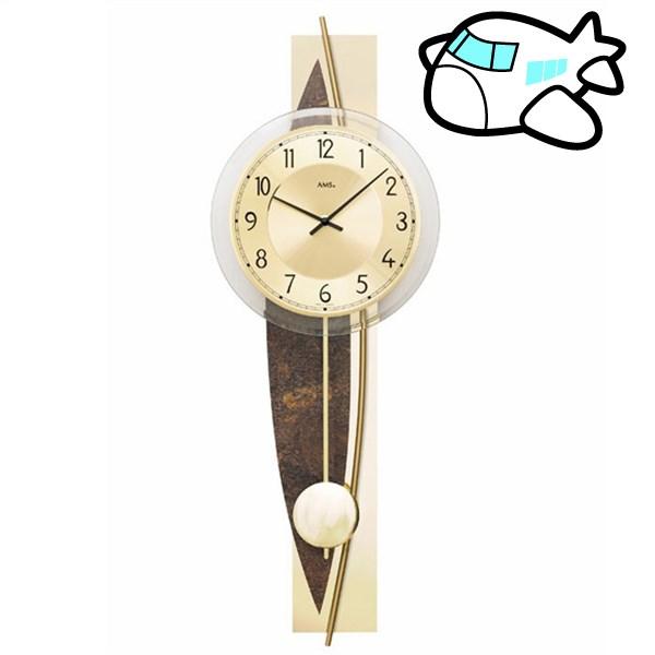 シャープなデザインのゴールドの高級振り子時計 ドイツ製 AMS