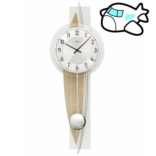 AMS 掛け時計 振り子時計 アナログ シルバー ドイツ製 AMS7455 納期1ヶ月程度 (YM-AMS7455)