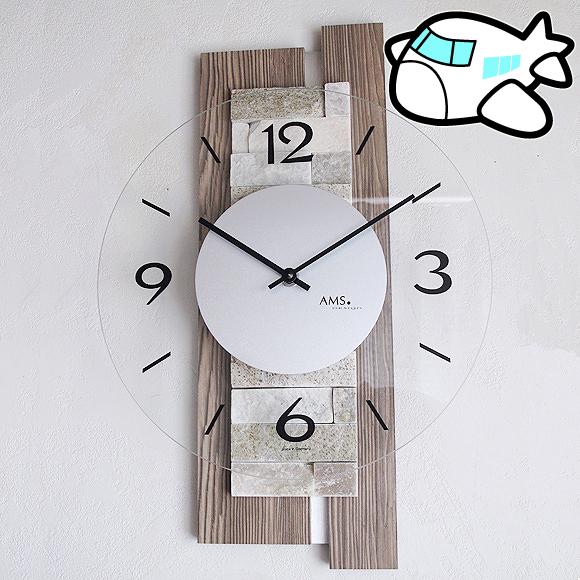 AMS ドイツ製 掛け時計 9543 9544 アナログ 天然石 木製 30%OFF 納期1ヶ月程度 (AMS9543 AMS9544)