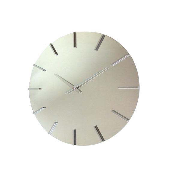 掛け時計 ミラー クール 大型 モダン おしゃれ アクトレスクロック メタル シャープ ステップ 日本製 (FO-V0056)