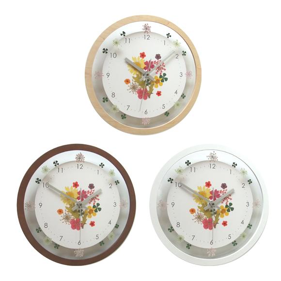 掛け時計 電波時計 花 フラワー エレガント ボタニカルクロック 日本製 (FO-V0058)