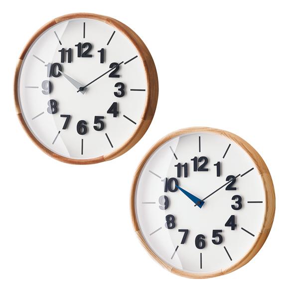 掛け時計 電波 天然木 シンプル 木製 デザイン インテリア おしゃれリビング 寝室 プレゼント ギフト ナチュラル ユニーク 「フィンケル」 (IF-CL3706)