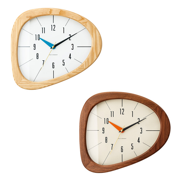掛け時計 キーノ 天然木 シンプル レトロ おしゃれ 木製 ハンドメイド 北欧 デザイン インテリア リビング プレゼント ミッドセンチュリー ギフト (IF-CL3881)
