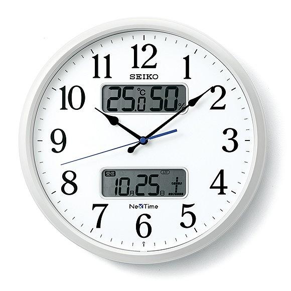 セイコー (SEIKO) ネクスタイム 掛け時計 電波時計 スイープムーブメント アナログ 温度計 湿度計 カレンダー機能 (ZS250W)