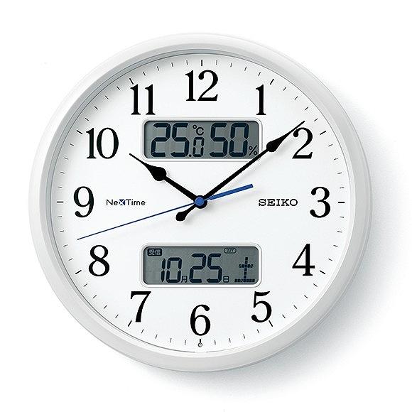 セイコー (SEIKO) ネクスタイム 掛け時計 電波時計 スイープムーブメント アナログ 温度計 湿度計 カレンダー機能 (ZS251W)