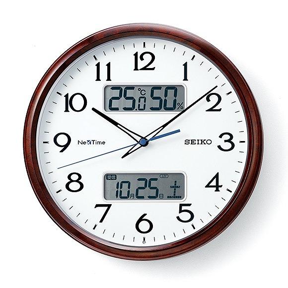 セイコー (SEIKO) ネクスタイム 掛け時計 電波時計 スイープムーブメント アナログ 温度計 湿度計 カレンダー機能 (ZS252B)
