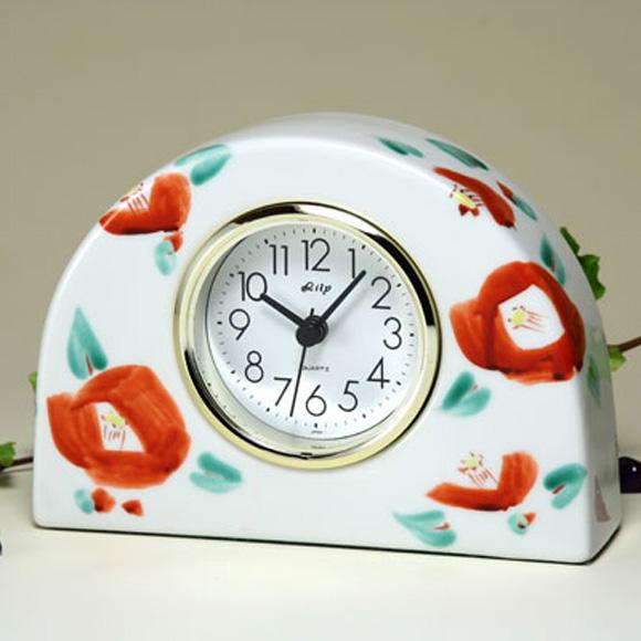 日本製 ギフト 九谷焼 陶器 置時計 九谷焼置き時計 花椿 69S-1 (SMT-69S-1)