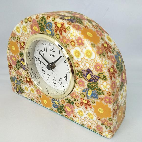 日本製 陶器 九谷焼 ギフト 置時計 九谷焼置き時計 極上花詰 白69S-5 (SMT-69S-5)