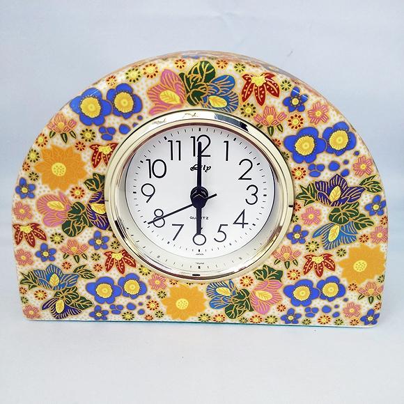 日本製 九谷焼 陶器 ギフト 置時計 九谷焼置き時計 極上花詰(青) 69S-6