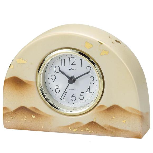 日本製 九谷焼 陶器 ギフト 置時計 九谷焼置き時計 銀彩静山S 69S-9 (SMT-69S-9)