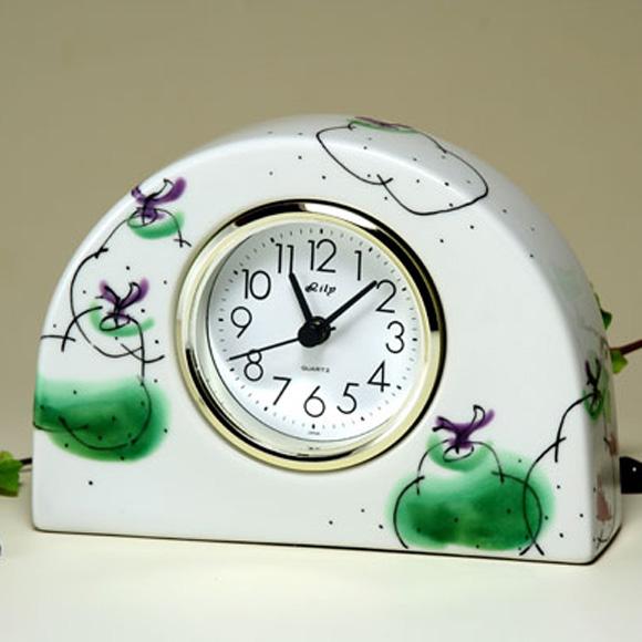 九谷焼 陶器 ギフト 日本製 置時計 九谷焼置き時計 洋なし 70S-2 (SMT-70S-2)