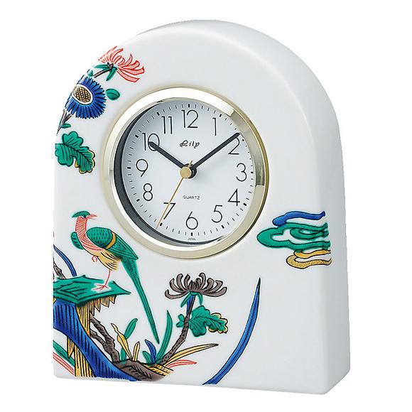 日本製 九谷焼 陶器 ギフト 置時計 九谷焼置き時計 古九谷花鳥 70S-3 (SMT-70S-3)