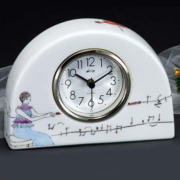 九谷焼 陶器 置時計 日本製 ギフト 九谷焼 置き時計 70S-6 (SMT-70S-6)