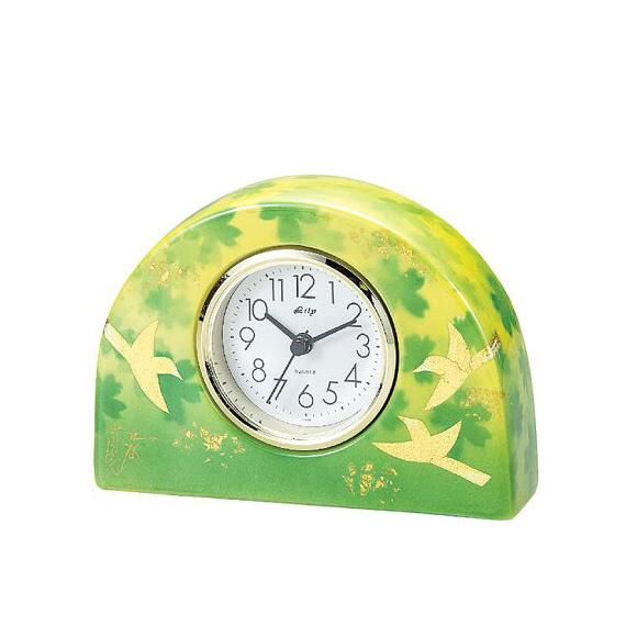 日本製 九谷焼 陶器 ギフト 置時計 九谷焼置き時計 釉裏金鳥S 71S-4 (SMT-71S-4)
