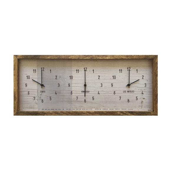 掛け時計 ワールドタイム 世界時計 木枠 3つの時刻表示 アンティーク調 ナチュラル CCC52690 (SW-CCC52690)
