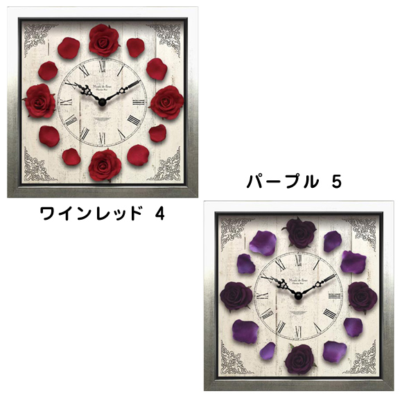 掛け時計 バラの時計アナログ スイープ秒針 木枠 リビング プレゼント ギフト 四角 (クラッシックローズ)CDC5150