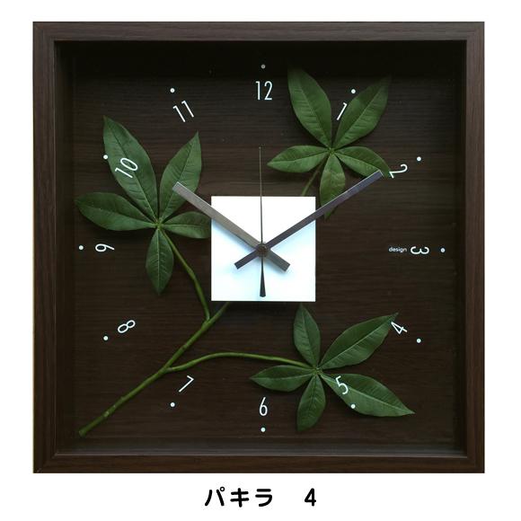 掛け時計 アナログ スイープ秒針 木枠 観葉植物 パキラ モンステラ 四角 (リーフ)CDC5181