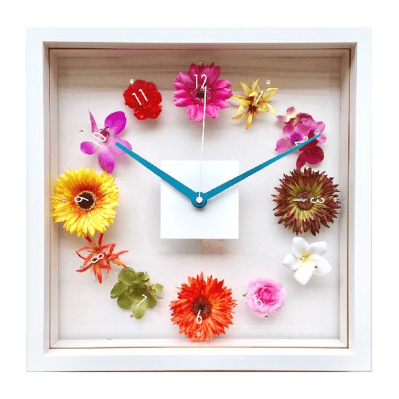 掛け時計 花 アナログ スイープ秒針 木枠 リビング プレゼント ギフト 四角 (花の時計)CDC51964