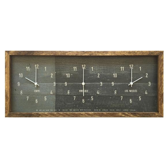 掛け時計 ワールドタイム 世界時計 木枠 3つの時刻表示 アンティーク調 ナチュラル CCC52689 (SW-CDC52689)