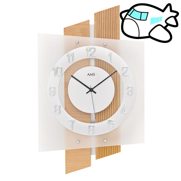 AMS ドイツ製 掛け時計 木製 リビング ギフ ト記念品 開院祝い 開業 オフィス ロビー AMS5530