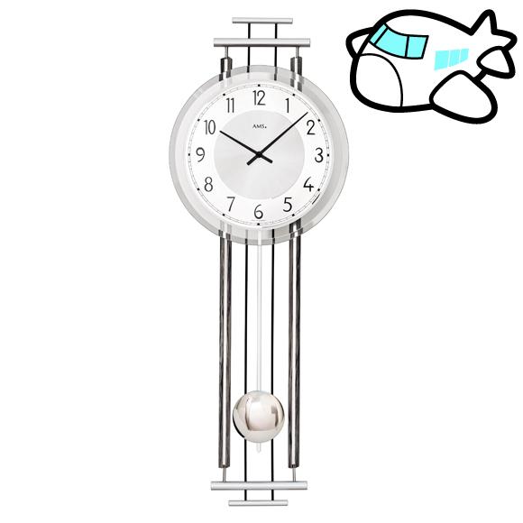 AMS ドイツ製 振り子時計 メタル シルバー リビング ギフ ト記念品 開院祝い 開業 オフィス ロビー AMS7464