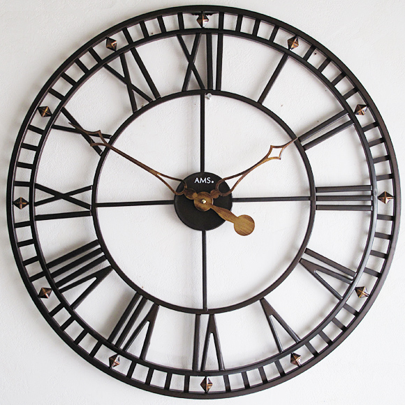 AMS ドイツ製 掛け時計 アナログ 大型 レトロ スチール 【期間限定30%OFF!】 国内在庫 即納 (YM-AMS9537J)
