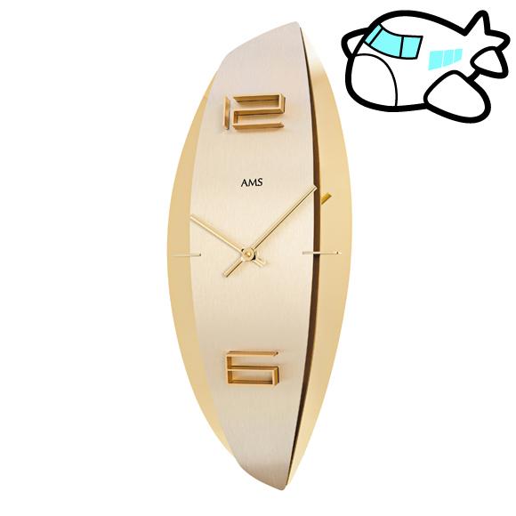 AMS ドイツ製 掛け時計 モダン デザイン ゴールド クール ユニーク リビング ギフ ト記念品 開院祝い 開業 オフィス ロビー AMS9601
