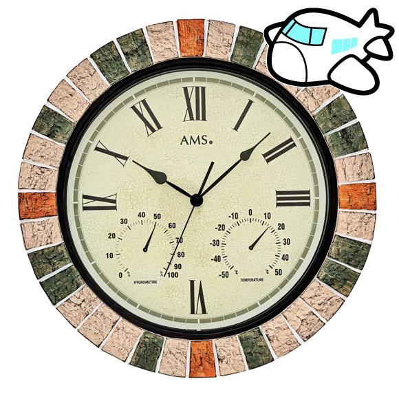ドイツ AMS 掛け時計 温度計 湿度計 大型 納期1ヶ月程度 (YM-AMS9620)