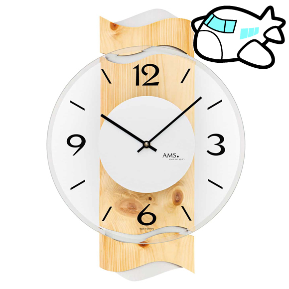 AMS 掛け時計 木調 ドイツ製 納期1ヶ月程度 (YM-AMS9623)
