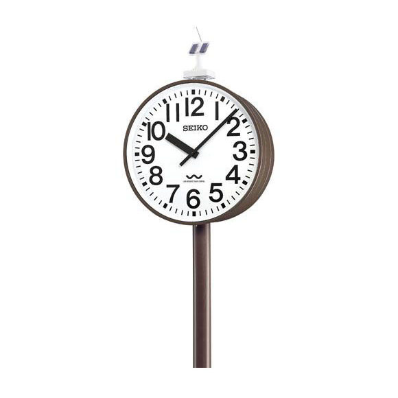 【ポイントアップ中&割引クーポン配布中】 【 送料無料 】 SEIKO セイコー 両面ポール型 電波時計・ソーラー式 屋外用 (QLC-783) (検) 時計 掛け時計 掛時計 かけ時計 木製