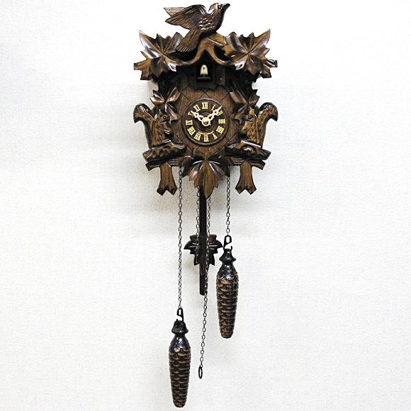 掛け時計 時計 振り子 からくり 鳩時計 ハト はと カッコー 時報 ドイツ 木製 天然 木 無垢 引越し ハンドメイド森の時計 木製 からくり 622QM【10P01Oct16】