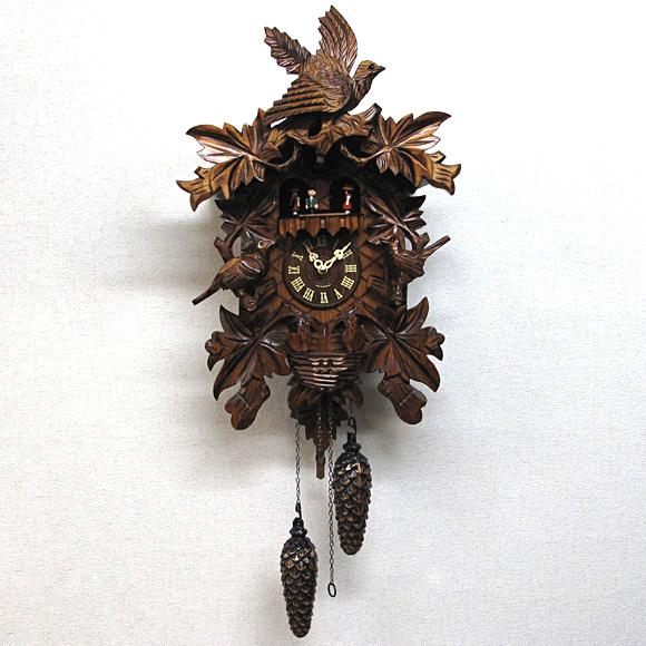 掛け時計 時計 振り子 ハト はと カッコー 音楽 時報 ドイツ 天然 木 無垢 子供 記念品 森の時計 木製 からくり 鳩 時計 (640QMT)【10P01Oct16】