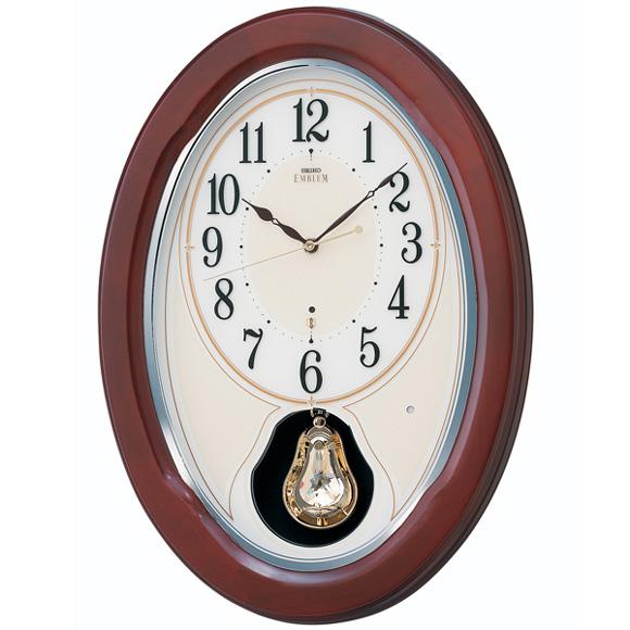 セイコー (SEIKO) EMBLEM 振り子時計 電波時計 木枠 メロディ 音量調節 自動鳴止め 飾り振り子 報時モニター スイープ おやすみ秒針 HS445B