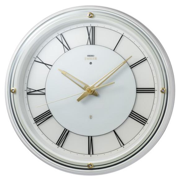 セイコー (SEIKO) EMBLEM 掛け時計 電波時計 おやすみ秒針 スイープ ライト 木枠 HS550W
